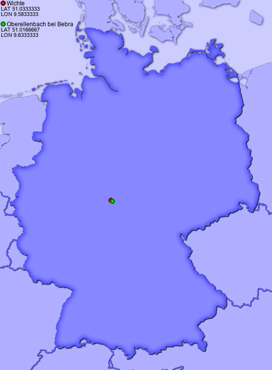 Distance from Wichte to Oberellenbach bei Bebra