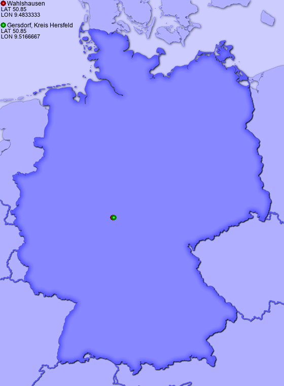 Distance from Wahlshausen to Gersdorf, Kreis Hersfeld