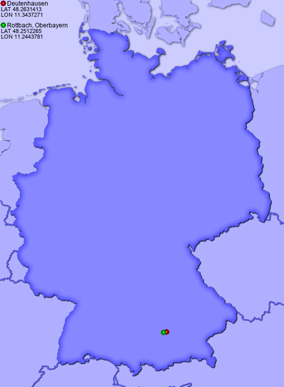 Distance from Deutenhausen to Rottbach, Oberbayern