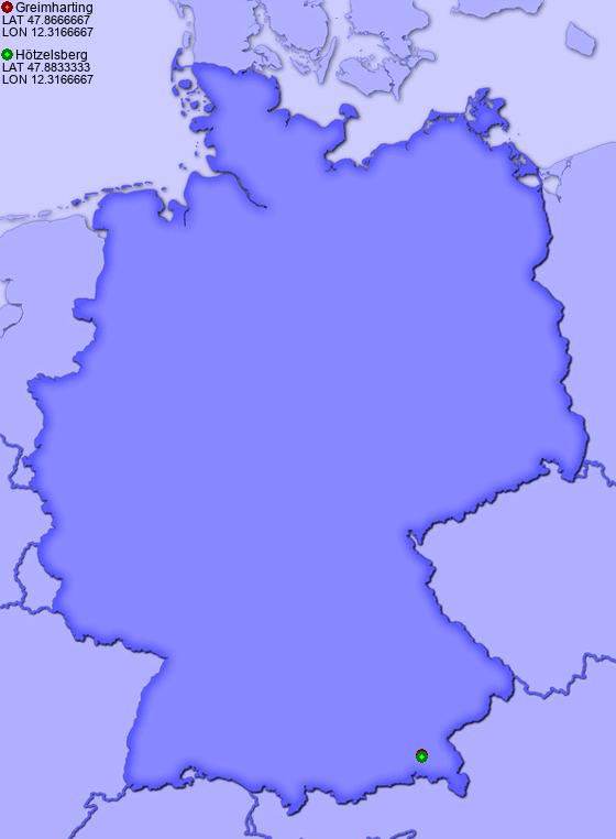 Distance from Greimharting to Hötzelsberg