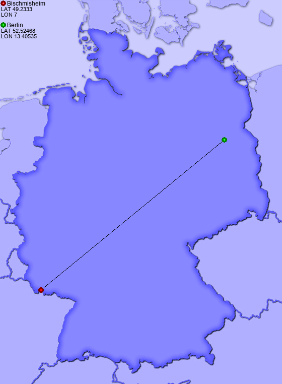Distance from Bischmisheim to Berlin
