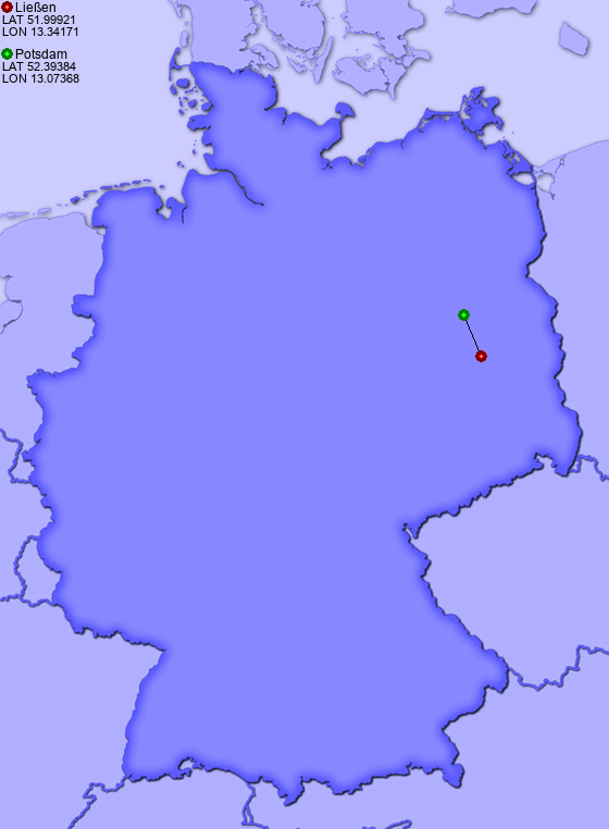 Distance from Ließen to Potsdam