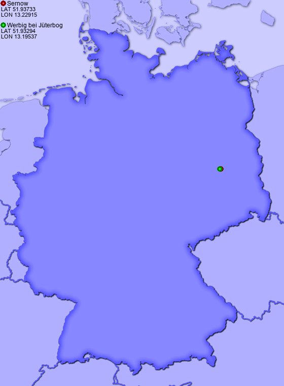 Distance from Sernow to Werbig bei Jüterbog