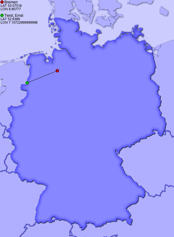 Distance from Bremen to Twist, Emsl - Places-in-Germany.com