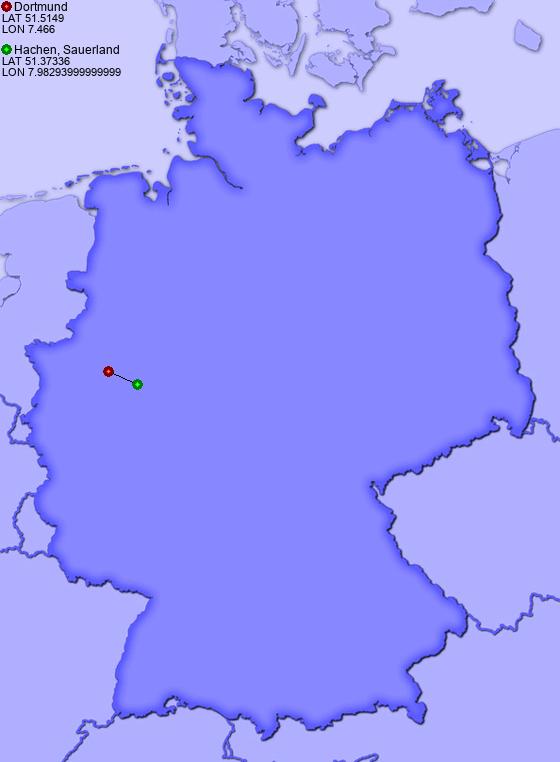 distance from dortmund to hachen sauerland