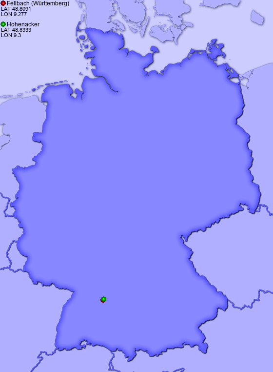 Distance from Fellbach (Württemberg) to Hohenacker