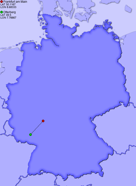 Distance from Frankfurt am Main to Otterberg - Places-in-Germany.com