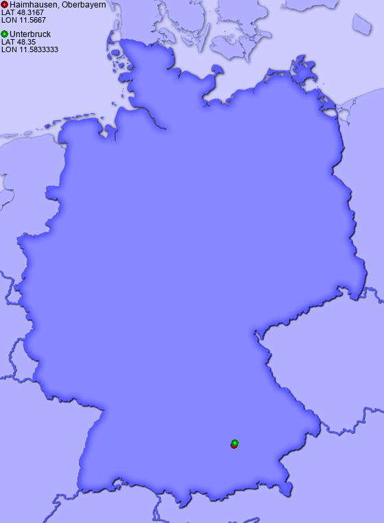 Distance from Haimhausen, Oberbayern to Unterbruck