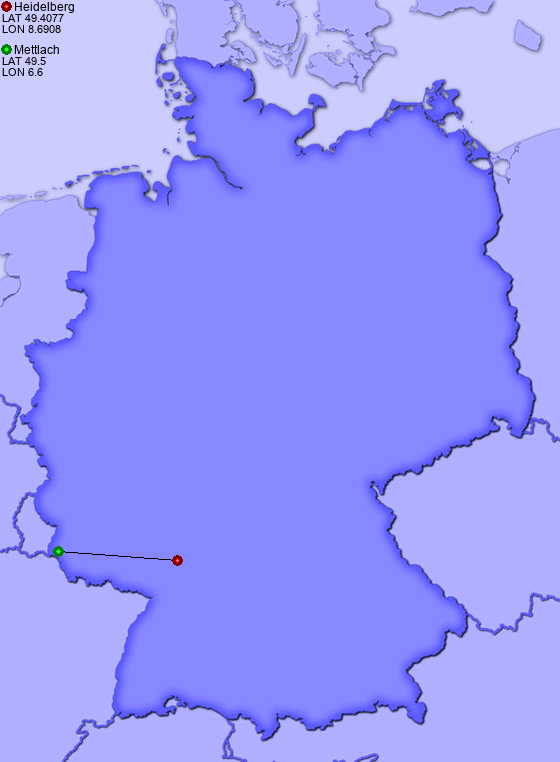 distance from heidelberg to mettlach