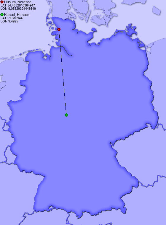 Distance From Husum Nordsee To Kassel Hessen PlacesinGermanycom - Germany map kassel