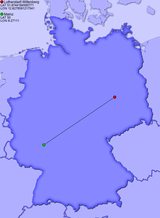 Distance From Lutherstadt Wittenberg To Mainz Places In Germany Com