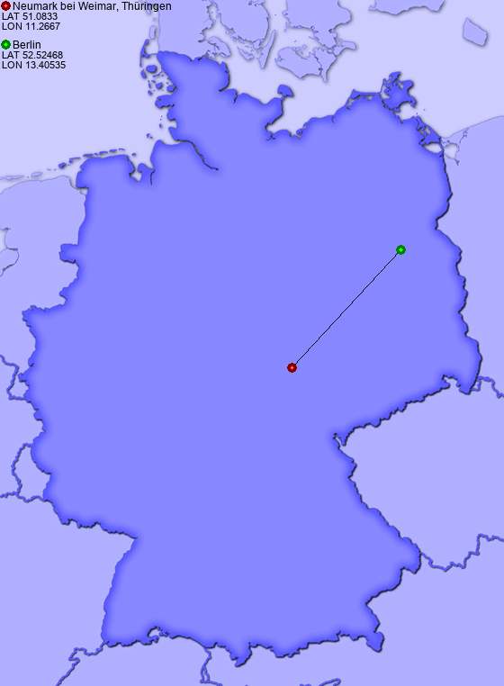 Distance From Neumark Bei Weimar Thuringen To Berlin Places In