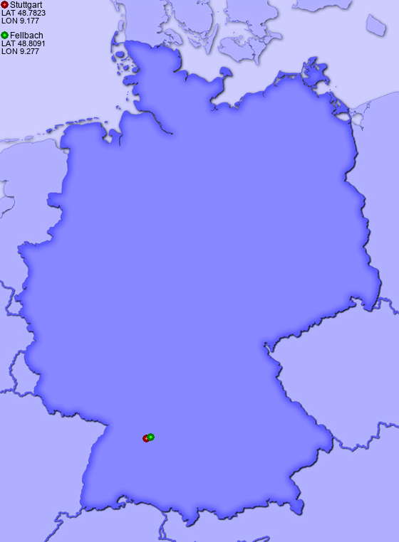 Stuttgart Map Of Germany.Distance From Stuttgart To Fellbach Places In Germany Com