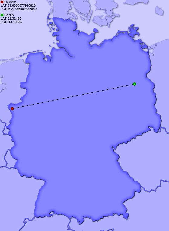 Distance from Uedem to Berlin