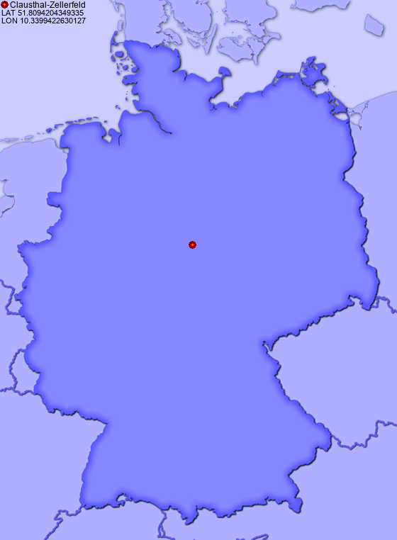 Location of Clausthal-Zellerfeld in Germany