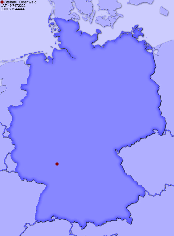 Location of Steinau, Odenwald in Germany