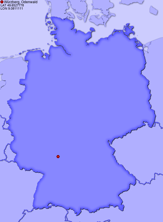 Location of Würzberg, Odenwald in Germany
