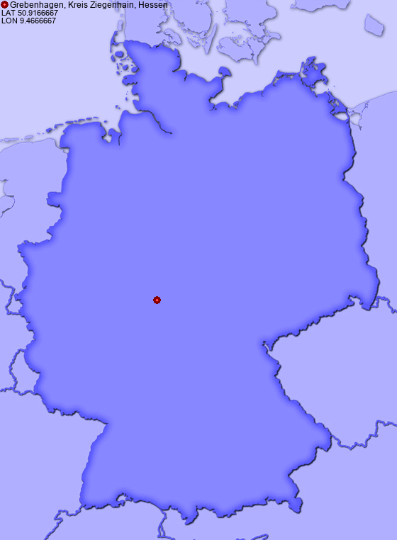 Location of Grebenhagen, Kreis Ziegenhain, Hessen in Germany