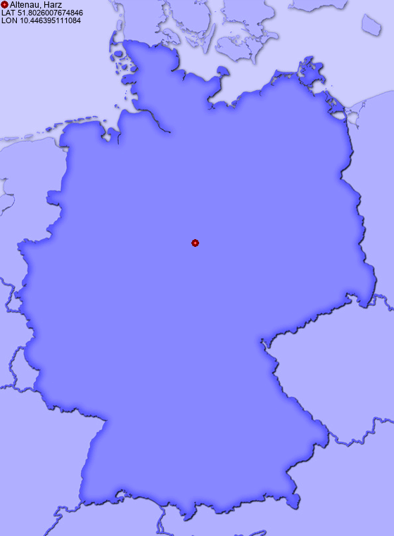 Location of Altenau, Harz in Germany