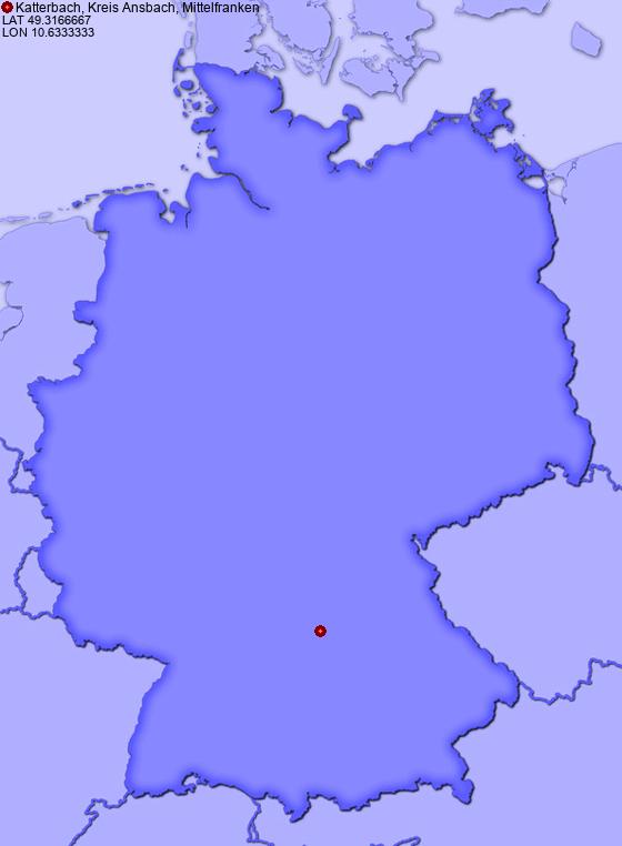 Katterbach Germany Map.Location Of Katterbach Kreis Ansbach Mittelfranken In Germany