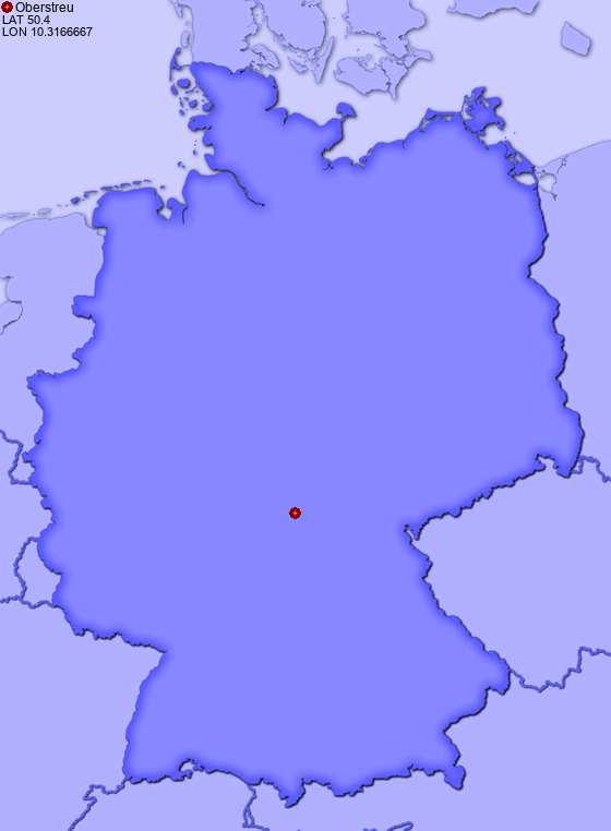 Location of Oberstreu in Germany