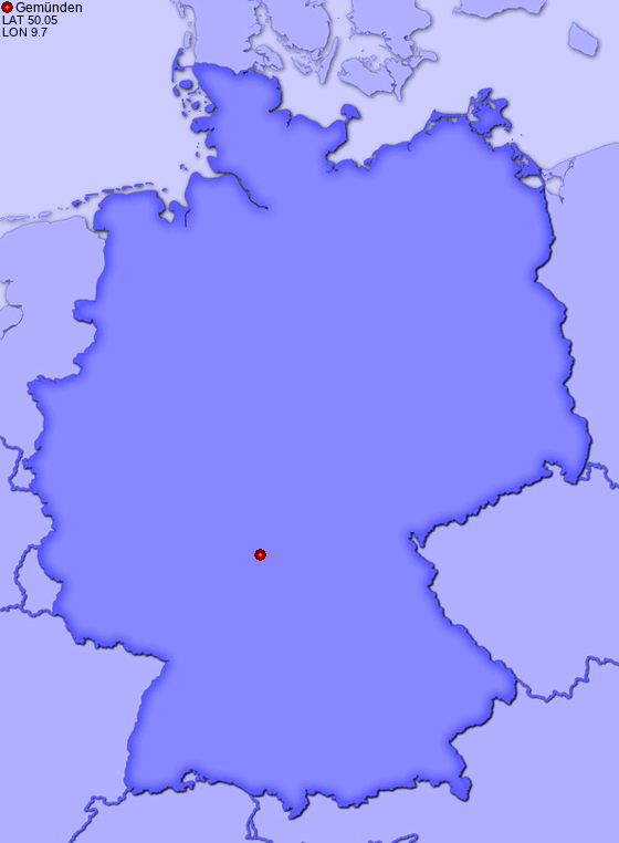 Location of Gemünden in Germany