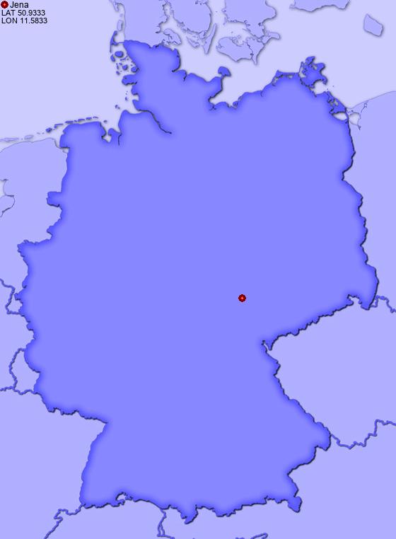 Location Of Jena In Germany PlacesinGermanycom - Germany map jena