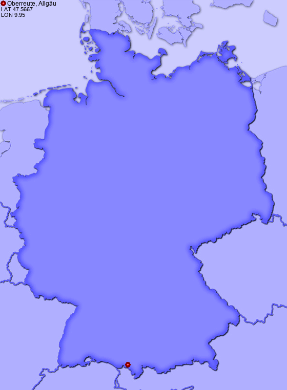 Location of Oberreute, Allgäu in Germany