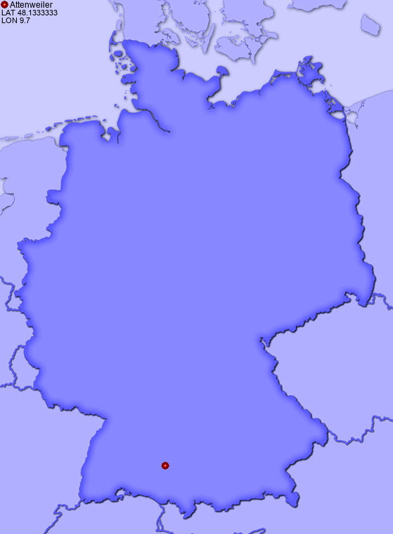 Location of Attenweiler in Germany