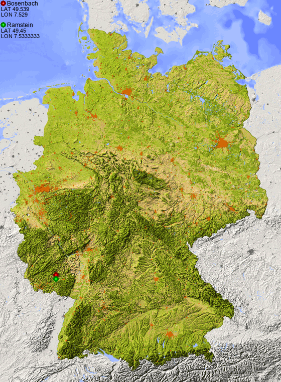Map Of Germany Ramstein.Distance From Bosenbach To Ramstein Places In Germany Com