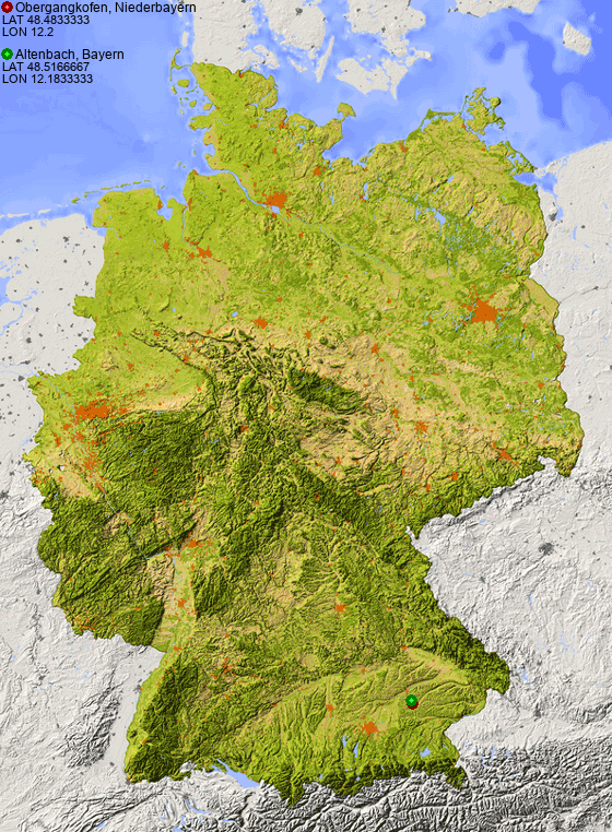Distance from Obergangkofen, Niederbayern to Altenbach, Bayern