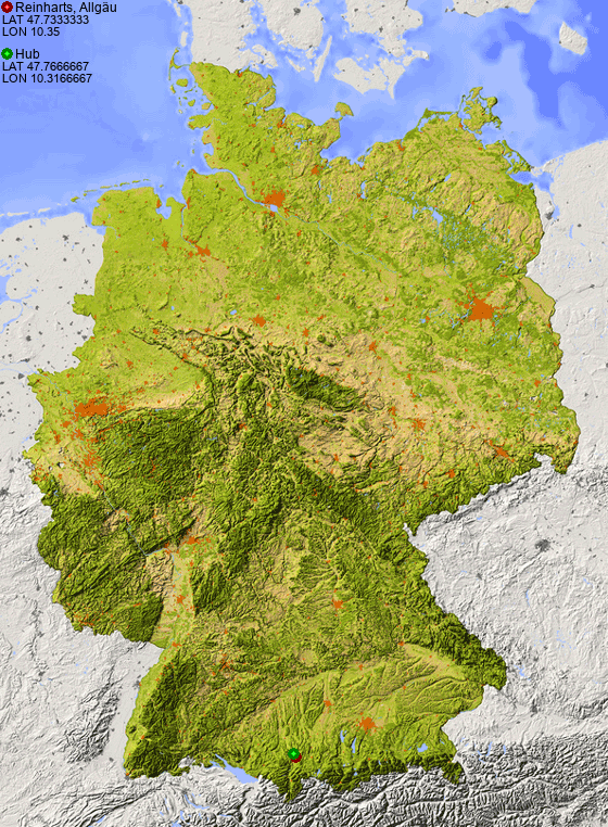 Distance from Reinharts, Allgäu to Hub