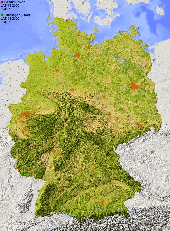 Saarbrucken Germany Map.Distance From Saarbrucken To Gudingen Saar Places In Germany Com