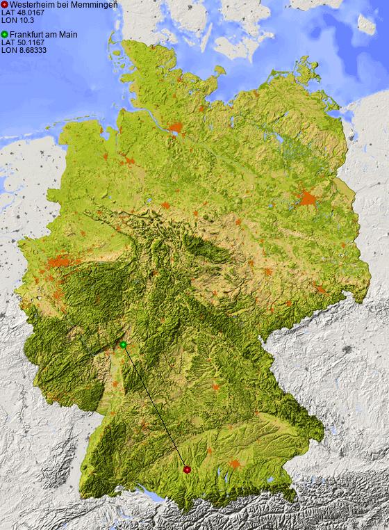 Map Of Germany Memmingen.Distance From Westerheim Bei Memmingen To Frankfurt Am Main Places