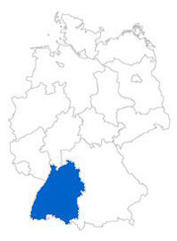 Show Federal state Baden-Wuerttemberg on the map of the federal states