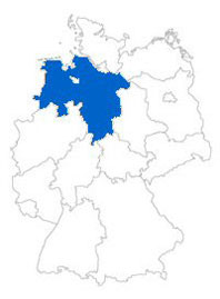Show Federal state Lower Saxony on the map of the federal states
