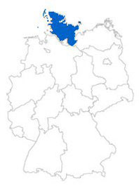 Show Federal state Schleswig-Holstein on the map of the federal states