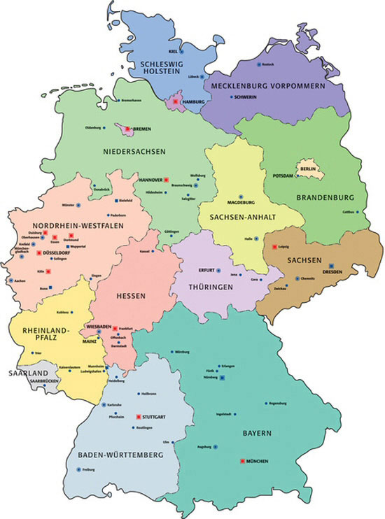 Map of the federal states - Places-in-Germany.com