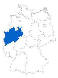 Show Federal state North Rhine-Westphalia on the map of the federal states